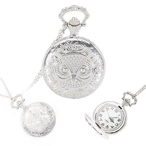 hrph Vintage Steampunk Legierung Eule Taschenuhr Medaillon Anhänger Halskette Kette schlüsselanhänger Uhr Geschenke -