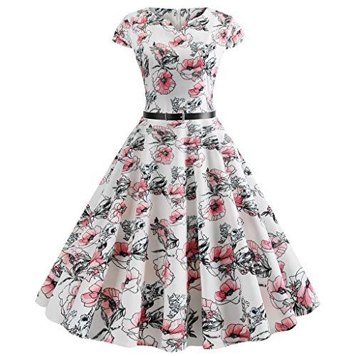 OIKAY Damen Petticoat Vintage 50er Cap Sleeves Rockabilly Retro Kleider Hepburn Stil Partykleid hochzeitskleid