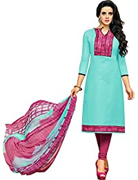 MF Next Stylish Sky Blue & Pink Chanderi Cotton Salwar Suit For Women