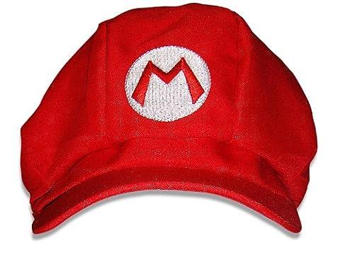 Super Mario Mütze rot, Mario Kostüm, Einheitsgröße, Unisex Mütze für Karneval/Fasching