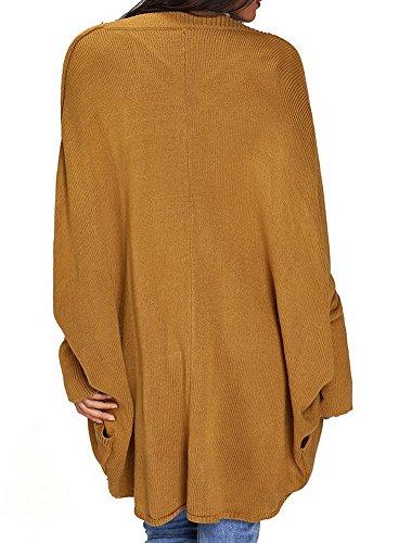 BIUBIONG Donna Cardigan Lunghi Risvolto Cappotto Lungo Manica Lunga Giuntura Caldo Trench Coat Parka Oversize Outwear Autunno Inverno Giallo