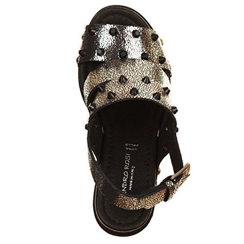 VialeScarpe  Sas-7670nvag_35, Damen Sandalen silber silber / schwarz 35 Silber / Schwarz