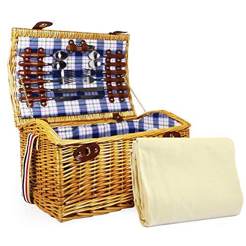 Fine Food Store Sutton Panier pique-nique en osier 4 personnes avec une couverture de tartan mauve