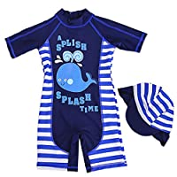 Gogokids Boys Swimsuits Kids Swimwear - Children One-Piece Sun Protection Swimming Costume All-in-One Sunsuit with Swimming Cap, Blue, S/75-85cm(Manufacturer size: 3)