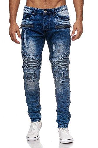 Megastyl Biker-Jeans Herren Hose Stretch-Denim Slim-Fit Zipper Destroyed,  Farbe e8ddedfc6e