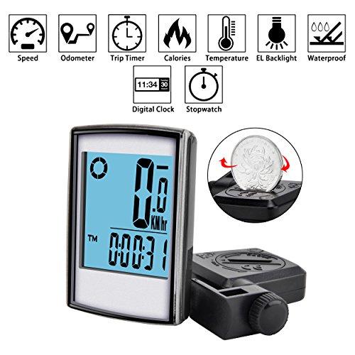 Elinker Fahrradcomputer mit großer LCD Hintergrundbeleuchtung und Motion Sensor für die Verfolgung der Geschwindigkeit und Entfernung, Wireless Radcomputer Drahtlos Tachometer Kilometerzähler - 3