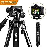 ESDDI 70'' Kamera Stativ Aluminiumlegierung Kompakt Leichtes für Smartphone DSLR SLR Canon Nikon Sony Olympus mit Handy Halterung Tragetasche