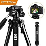 ESDDI 178cm/70'' Kamera Stativ Aluminiumlegierung Stativ Kompakt Leichtes Stativ für Smartphone DSLR SLR Canon Nikon Sony Olympus mit Handy Halterung Tragetasche