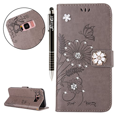 Custodia iPhone 5, iPhone 5S Flip Case Leather, SainCat Custodia in Pelle Flip Cover per iPhone 5/5S/SE, Custodia Bling Glitter Diamante Ultra Sottile Anti-Scratch Book Style Custodia Morbida Cover Pr Grigio