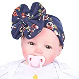 HighpotBaby Large Bow Decor Flower Pattern Princess Headband Family Photo Birthday Party Decor (Navy)