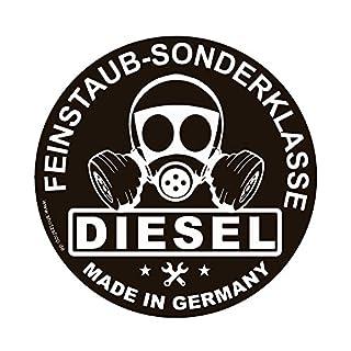 Shirtzshop Feinstaub Sonderplakette Diesel Made IN Germany Umweltplakette Aufkleber Autoaufkleber Sticker Vinylaufkleber Decal