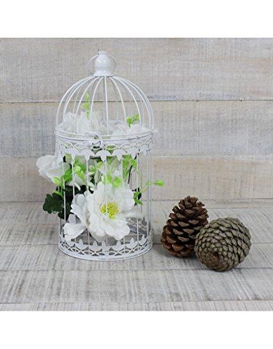 Hogar y Mas Jaula Decorativa Blanca de Metal para decoración - Diseño Elegante France Grande