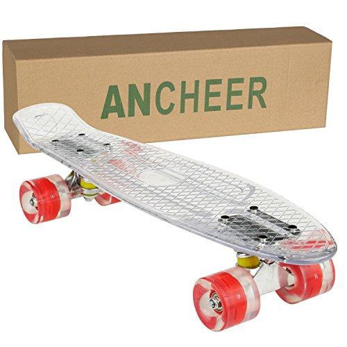 Ancheer Mini-Cruiser-Skateboard 55cm Skateboard mit oder ohne LED Deck,alle mit LED Leuchtrollen,Farbe:Deck in Weiß ohne LED / Rollen in Rot mit LED