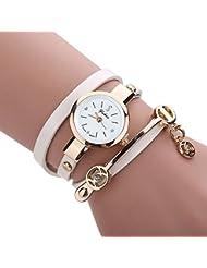 Feitong - Reloj con pulsera de metal y correa para mujer, de moda, novedad, mujer, Feitong, blanco
