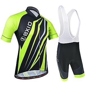 Cycling Clothing Set, Cycling Jersey and Bib Shorts with Elastic Band, 3 Back Pockets, Breathable Mesh and Full Zip, Green and Black, XL