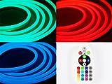 Ogeled Neon LED RGB Neonflexibel diffus diffusion led lichtband schlauch mit Kontroller und Fernbedinung 230V (5M)