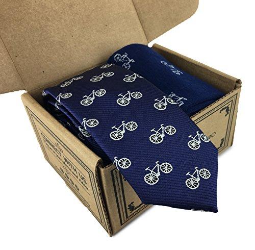 Modern Motif 2 Piece Combo Set - Skinny Tie w/ Sock (Blue w/ white bikes)