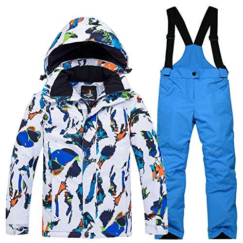 LPATTERN Traje de Esquí para Niños/Niñas Chaqueta Acolchada + Pantalones de Nieve Impermeables para Deporte de Invierno, Blanco-Azul+Azul, 5-6 años/S