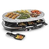 Klarstein Steaklette Grill-Raclette • Grill de table • 1500 W • température réglable en continu • pierre naturelle granit • grill faible en gras • fonction de stockage de la chaleur • argent noir