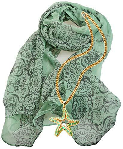 Portogarda Moden Cascati Damen Mädchen Halstuch Schal Tuch lindgrün im Geschenk Set mit Modeschmuck Kette Seestern - Mädchen Lindgrün