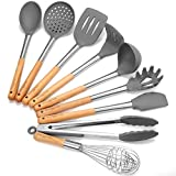 Godmorn - Set di utensili da cucina (9pezzi), utensili da cucina in silicone antiaderente, per cucinare-silicone e acciaio inox e manico in legno - kit per pentole e padelle