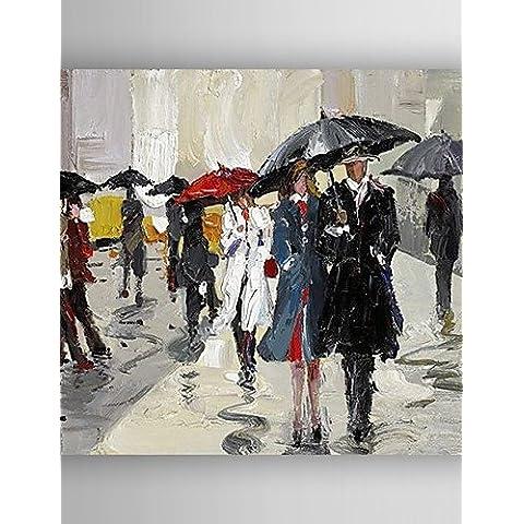 OFLADYH ® poeple pittura a olio, tenendo tela dipinta a mano con ombrelloni allungata incorniciato