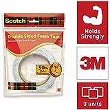 Scotch 3 m Double Sided Foam Tape 2.4 cm x 3 m - Pack of 3