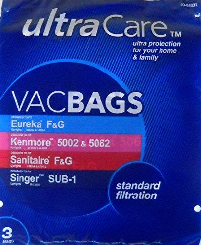 Ultracare uc27715-6Staubsaugerbeutel für Eureka Typ F & G; Kenmore Typ 5002& 5062; Sanitaire Typ F & G; Singer Typ Cable SUB-1Aufrecht-3Pk - Eureka-typ