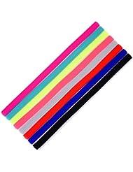Shappy 8 Pièces Bandeaux de Sport Mince Élastique Bandes de Tête Antidérapantes Hairband pour Jogging Football Faire Yoga et Autre Exercices (Multicolore)