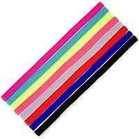 Shappy 8 Pezzi Sport Fasce Elastico Head Band Sottile Antiscivolo Fasce Capelli per Jogging Running Calcio Allenarsi Yoga e di più (Multicolore)