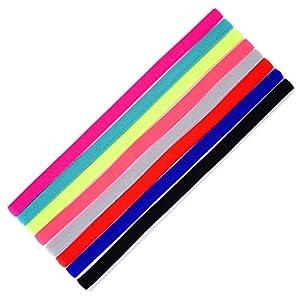 8 Stück Sport Stirnbänder Schlanke Elastische Stirnbänder Anti Rutsch Stirnband für Jogging Fußball Laufen Workout Yoga und Mehr