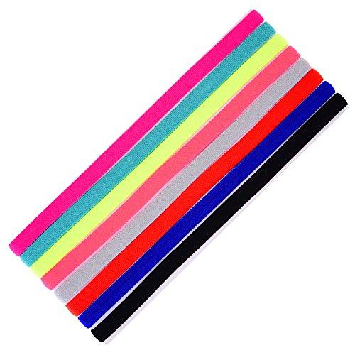 shappy 8 pezzi sport fasce elastico head band sottile antiscivolo fasce capelli per jogging running calcio allenarsi yoga