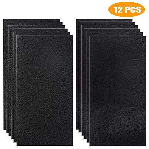 12 Stück Selbstklebender Leder Reparatur Patch, Flicken Selbstklebend Patch, Erste Hilfe für Sofas Autositze, Handtaschen Jacken, Fix Löcher, Risse, Verbrennungen, Flecken (schwarz, 10x20)