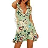 Honestyi Damen Maxikleider Sommerkleider vintage Boho Blumen Kleid Neckholder Printkleider Partykleider Strandkleider Minikleid Große Größe S-XXL (XL, Grün)
