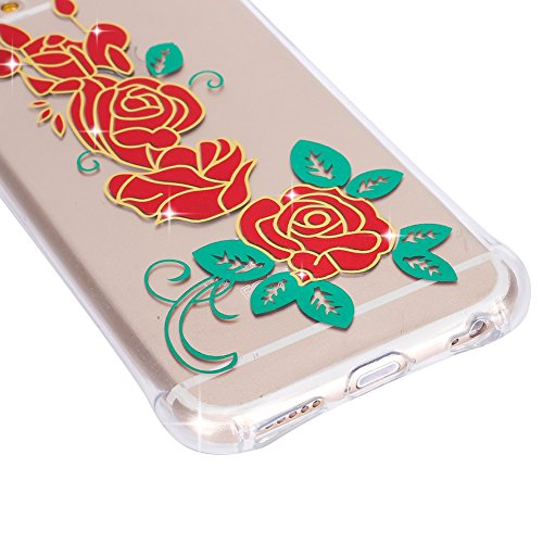 Ukayfe Coque pour iPhone 6/6S 4.7, UltraSlim Bronzing Transparent TPU Gel caoutchouc Silicone couverture Case pour iPhone 6/6S 4.7, Mode Série Pattern Back Coque Crystal Clear Skin Étui Stilosa Étui d Red Rose