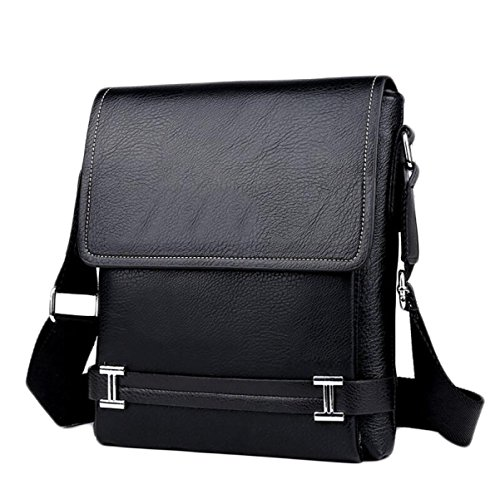 Herren PU-Tasche Tasche Umhängetasche Aktentasche Business Casual Multifunktionale Messenger Bag Männlich Paket,Black-OneSize - Business Casual Messenger Bag