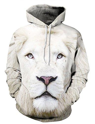 KamiraCoco Herren Pullover Slim Fit Kapuzenpullover 3D Druck Hoodie Weihnachten Langram Sweatshirt Kapuzenjacke Wilder Löwe