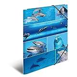 Herma 19221 Sammelmappe DIN A3 Karton, Motiv Delfine, Serie Tiere, Eckspanner, 1 Zeichenmappe, auch für Kinder