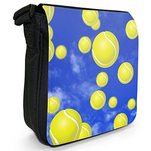 It's Raining-Borsa a spalla piccola di tela, colore: nero, taglia: s Nero (It's Raining Tennis Balls)