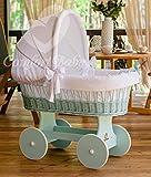 ComfortBaby Snuggly Baby Stubenwagen - komplette 'all inclusive' Ausstattung - Zertifiziert & Sicher (Mint - Weiß)