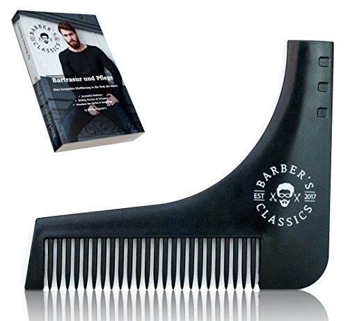 Bartschablone Inkl. Gratis ANLEITUNG und E-BOOK (Rasur- und Pflegetips) | Rasierhilfe mit Bartkamm für Dreitagebart oder Vollbart | Bart Styling Tool