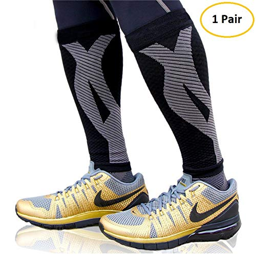 FAVIO Calf Compression Sleeve Leg Performance Support Shin Splint & Calf Pain Relief. Men Women Runners Guards Sleeves Running. Improves Circulation Recovery (Black Large)