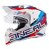 O'Neal Sierra II Helm Circuit weiß Blau Motorrad MX Motocross Enduro Offroad Quad, 0817-30, Größe L (59/60 cm)