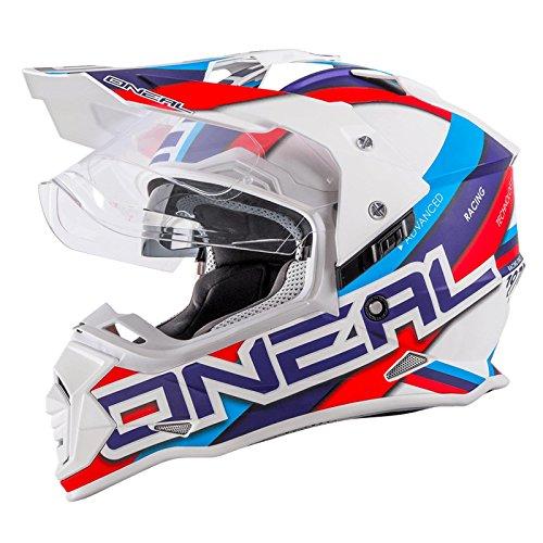O\'Neal Sierra II Helm Circuit weiß blau Motorrad MX Motocross Enduro Offroad Quad, 0817-30, Größe XL (61/62 cm)
