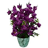 #5: Thefancymart artificial Blossom flower plant purple color (12 inchs/ 30 cms) with Marble finish colorful pot