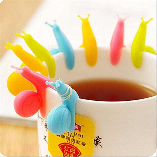 HABI 6 Stück Schnecke Form Silikon Teebeutel Halter Tasse Süßigkeit Farben Geschenk Set Teekocher Tee Diffusor, Tasche