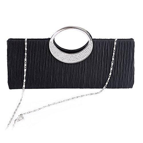 Borsetta a tracolla donna, in raso a pieghe, pochette, Clorislove Timeless strass per feste, matrimoni & club. Nero
