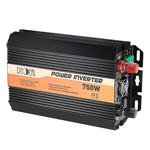 Decdeal Convertisseur 12V 220V Transformateur 750W / 1500W Onduleur de Tension Voiture Onde Sinusoïdale Modifiée Puissance De Voiture Inverter Ports USB Dual 5V/2.1A