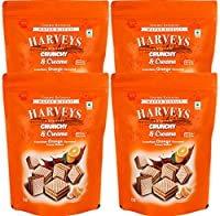 Harveys Crunchy & Creame Gourmet Delicacies Cream Wafer Biscuit 110 g Pouch Pack - Orange Flavoured(Pack of 4)