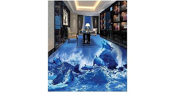 3d Fußboden Wasser ~ Moderner aufkleber d fußboden delphin welle d badezimmer